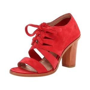 Frye Sofia Tie On Heels Red Leather Size 7.5